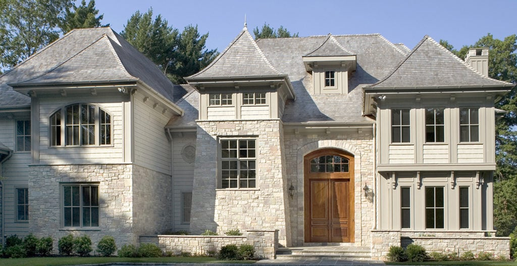 two story residential home with Chilton Kensington natural stone façade